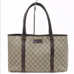 100% Authentic Gucci Tote Bag GG Browns PVC 700088